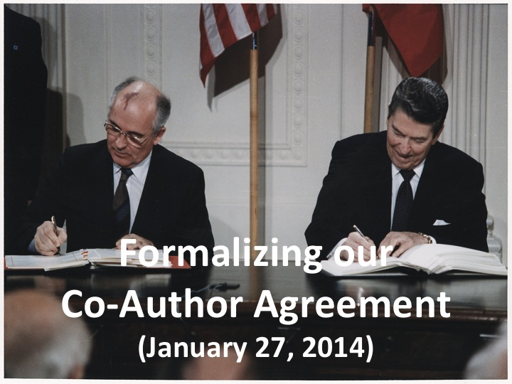 Formalizing our Co-Author Agreement (Jan. 27, 2014)
