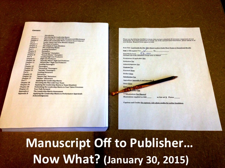 Manuscript Off to Publisher? Now What (January 30, 2015)